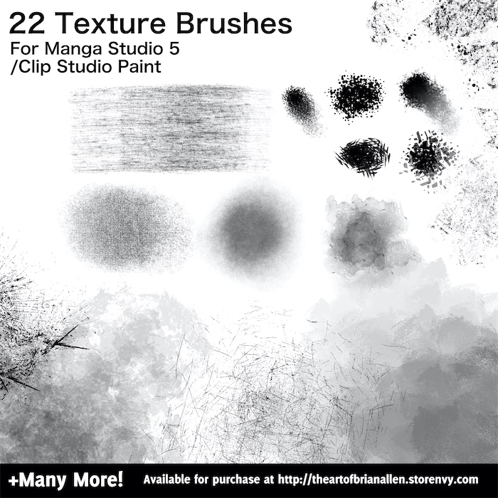 Brush Presets for custom Texture Brushes for Manga Studio 5