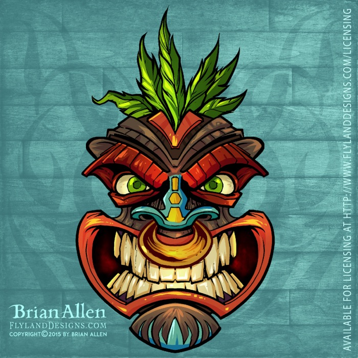 Angry tiki head illustrations fo