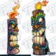 Single wooden Tiki heads with fire coming out of the top.