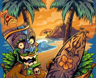 Illustration of a tiki man on a beach in a hammock