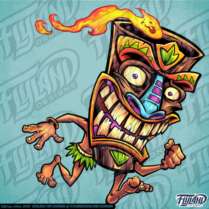 Crazy Tiki had person running with flame coming out of his head.