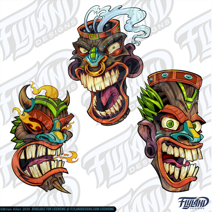 Wooded colorful tiki heads/faces.