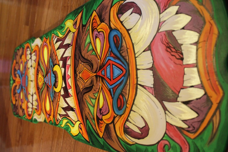 Hand-painted Tiki Skateboard Dec