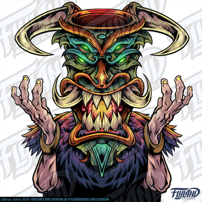 Tiki Head Witch Doctor Stock Artwork by freelance illustrator Brian Allen