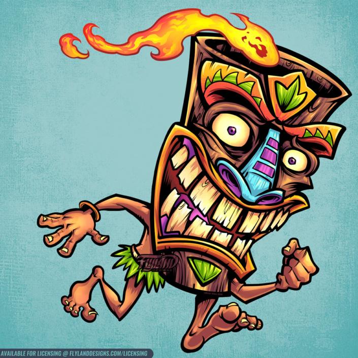 Running smiling Tiki head mascot