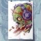 Art Print of a zombie head listing to loud music