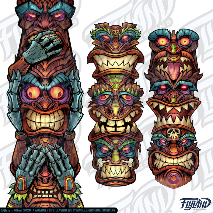 Wood Tiki Totems with funny faces, scary faces, angry faces.