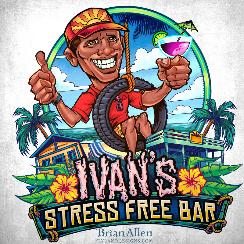Beach bar logo with caricature o
