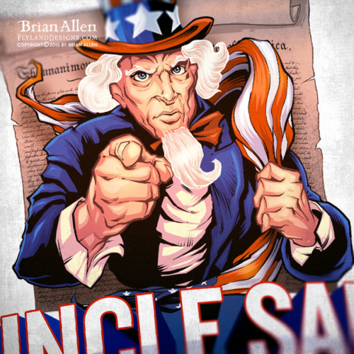 Uncle Sam with a United States flag draped over his shoulder looking tough
