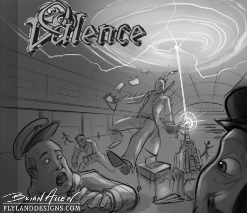 Album cover illustration of a scientist being sucked into a wormhole