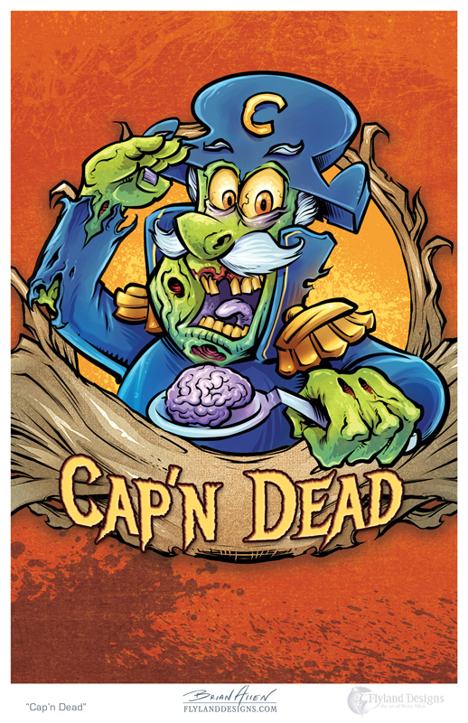 Art Print of Cap'n Crunch drawn as a zombie by freelance illustrator Brian Allen