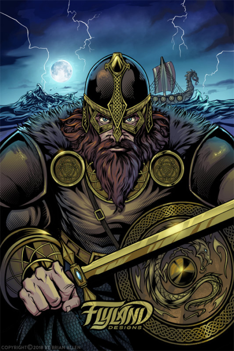 An intense viking warrior prepar