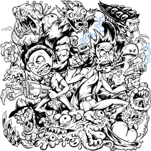 Rick And Morty Official T Shirt Illustration Flyland