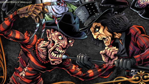 Dark detailed illustration of a epic battle between Freddy, Leatherface, Nosferatu, The Excorsist, Frankenstein, Kirk Hammet, Ozzy, Alice Cooper, Corey Taylor, and more.