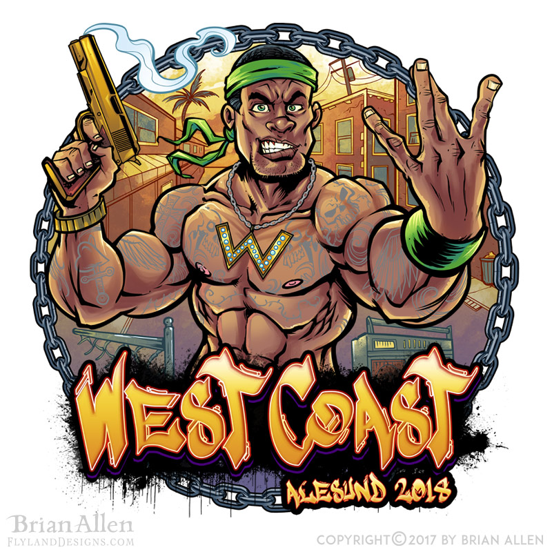 A muscular thug throws up West C