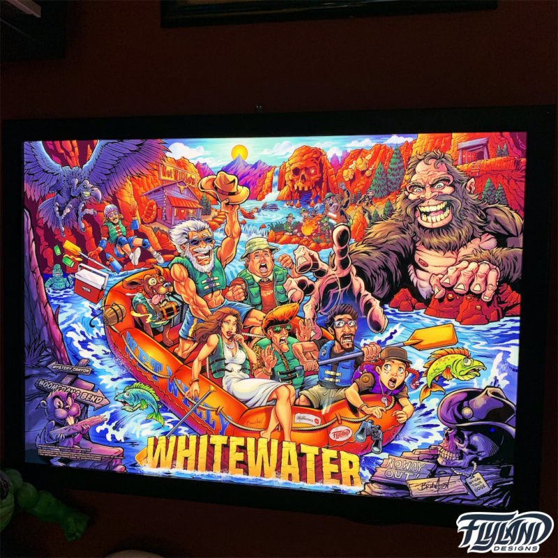 Alternate pinball artwork of Williams Whitewater pinball machine featruing a sasquatch by Brian Allen