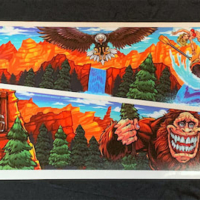 Alternate Side Blade pinball artwork of Williams Whitewater pinball machine featruing a sasquatch by Brian Allen