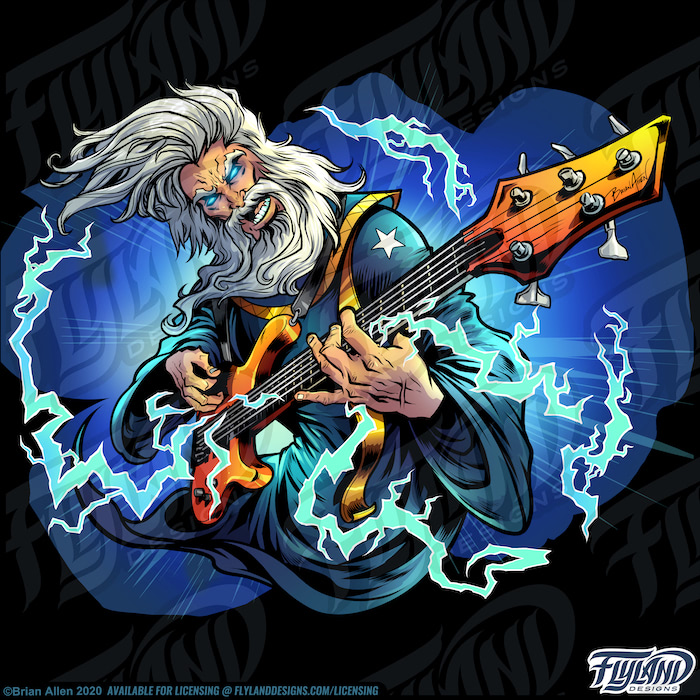 A white-haired wizard plays an orange guitar with lightning shooting out in all directions. The clothes are are blue with gold trim. Stock Artwork by freelance illustrator Brian Allen
