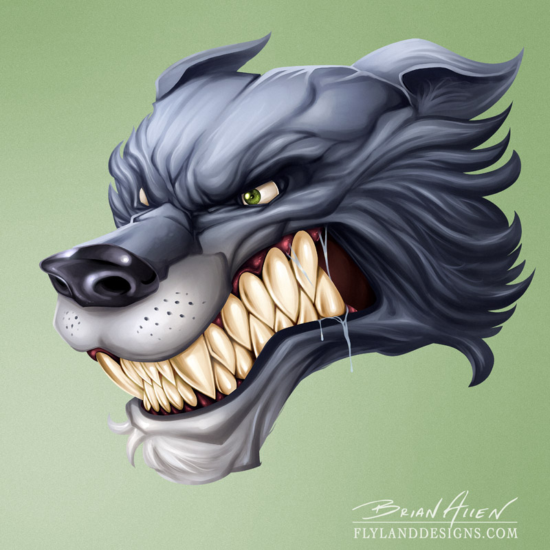 Wolf Mascot Head Digital Painting