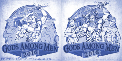 Zeus and lightning bolt men in togas