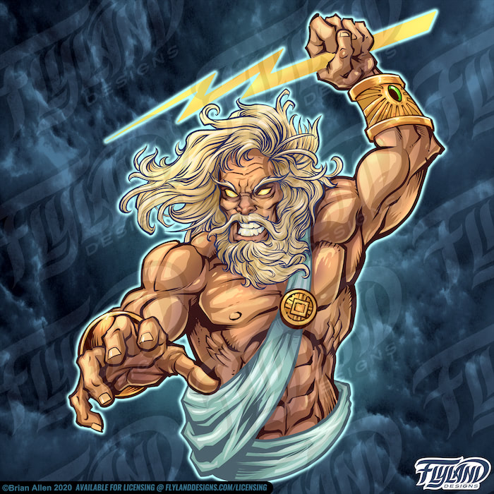 Zeus wears two gold gauntlets with an emerald embedded in the wrist. The light blue toga that he wears has a golden pin attached to it. He has a long beard and hair. Stock Artwork by freelance illustrator Brian Allen