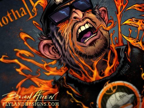 Album cover comic book illustration for hip-hop artist