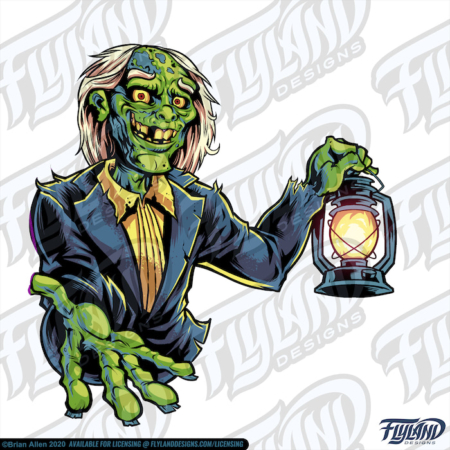 Bright Green Zombie holding a Lantern with a hand stretched out. Stock Artwork by freelance illustrator Brian Allen