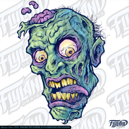 One rotting green Zombie heads with their brains exposed. Stock Artwork by freelance illustrator Brian Allen