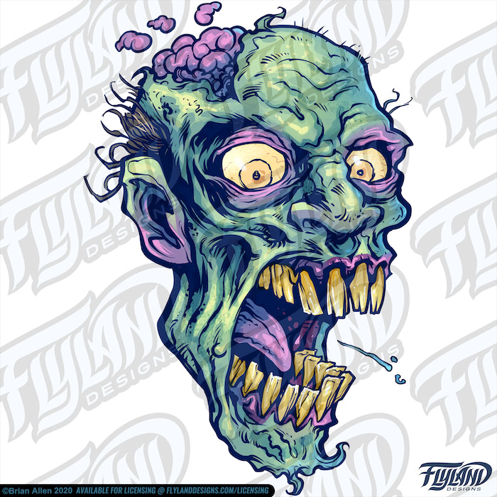 Three rotting green Zombie heads with their brains exposed. Stock Artwork by freelance illustrator Brian Allen