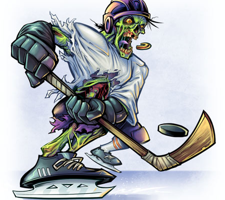 Zombie hockey player mascot