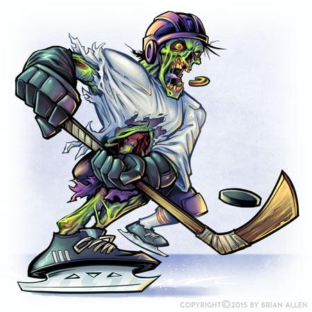 Zombie hockey player mascot
