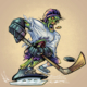 Zombie mascot character design of a hockey player