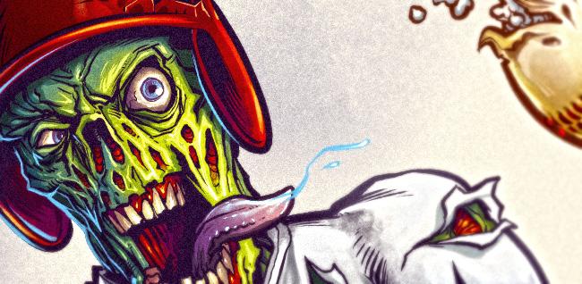 Illustration of a zombie baseball player swinging a bat