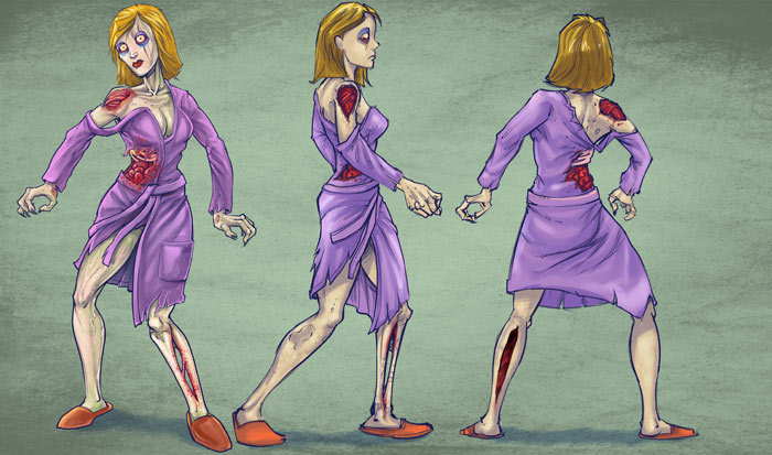 Zombie character turn-arounds of a man, woman, boy, and girl