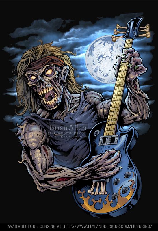 Illustration of a zombie rocker