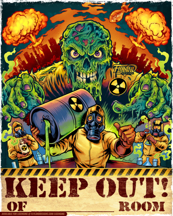 Zombie Keep Out Sign with nuclea