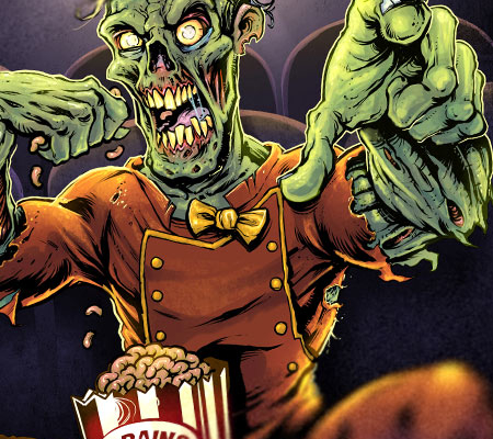 Book cover illustration of a zombie usher eating a box of buttered brains in a movie theater.