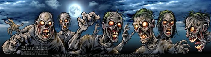 Horde of zombies in the moonligh