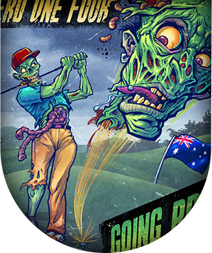 Album cover illustration of a zombie playing golf.