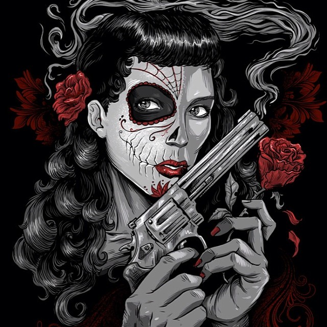 T-shirt design of a sugar skull girl for the Arizona apparel brand, FF Mafia.