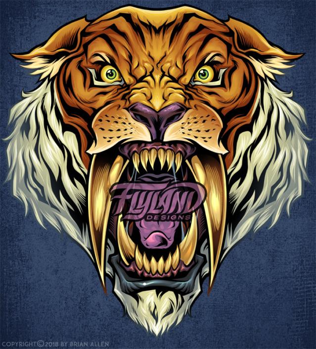 A wild, roaring sabertooth tiger