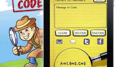 iPad app graphic design for children's game, Secret Coder